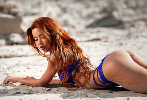 women, tanned, ass, lying on front, blue bikinis, redhead, closed eyes, sand, arched back, sand covered, women outdoors