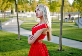 women, blonde, portrait, arms crossed, park, women outdoors, red dress