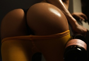 women, ass, pantyhose, tanned, bottles, champagne, black panties, body oil