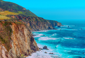 Big Sur, coast, ocean, Santa Lucia, Mountains, America, HDR