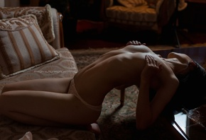 women, panties, Anton Vladimirovich, belly, hands on boobs, arched back, ri ...