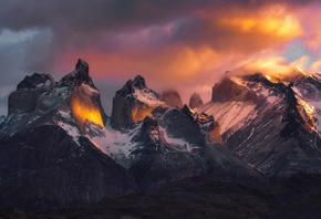 clouds, mountains, Patagonia, the sky, light