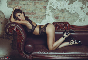 women, ass, black lingerie, couch, wall, bricks, high heels, tanned, arched ...