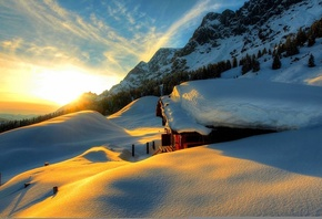 snow, winter, white, sunset, sky, scenery, cool, snow, nature