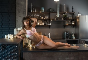 women, pink lingerie, kitchen, portrait, tanned, closed eyes, nose ring, pi ...
