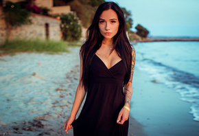women, portrait, tattoo, sea, black dress, women outdoors