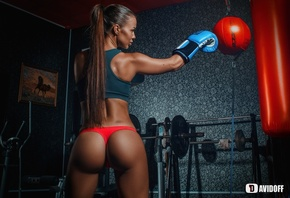 women, boxing gloves, long hair, ass, dumbbells, back, red panties, sportswear, tanned