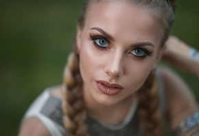 women, Dmitry Sn, blondeblue eyes, pigtails, face, portrait