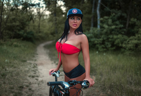 women, tanned, women with bicycles, baseball cap, short shorts, belly, port ...