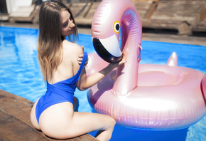 women, blonde, Inflatable Chair, ass, one-piece swimsuit, smiling, swimming ...
