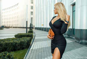 women, blonde, portrait, black dress, necklace, women outdoors