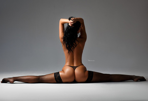 women, Maksim Romanov, gray background, black panties, ass, back, flexible, fishnet stockings, red nails, tanned