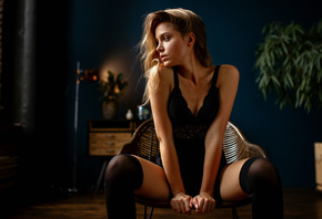 Ksenia Kokoreva, women, chair, sitting, black stockings, black dress, portrait, brunette