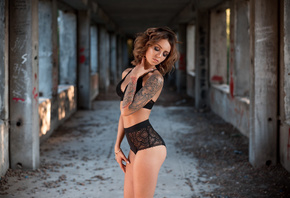 women, ass, tattoo, black lingerie, closed eyes, tanned, abandoned