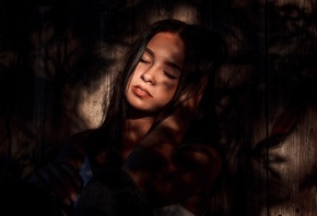women, closed eyes, portrait, face, sitting, wood, shadow