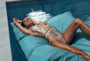 women, tanned, one-piece swimsuit, swimming pool, armpits, closed eyes, tattoo, boobs, lying on back