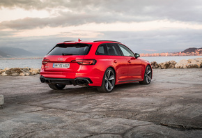 Audi, RS4, Avant, rear view, red