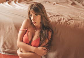 women, Judit Benavente, tanned, red nails, portrait, red lingerie, bed, sitting, arms crossed