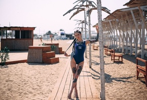 Aliona German, one-piece swimsuit, the gap, sand, women outdoors, tattoo, portrait, women