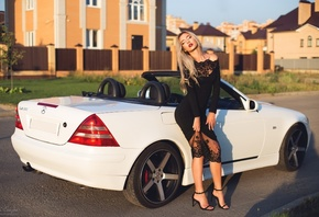 women, black dress, Mercedes-Benz, women with cars, blonde, high heels, closed eyes, portrait, women outdoors