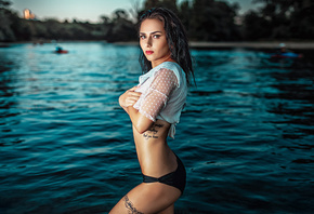 women, thong, tattoo, portrait, belly, red lipstick, arms crossed, wet hair, wet body, water drops, river