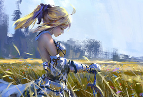 sword, digital art, armor, wind, saber lily