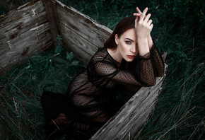 women, Damian Piorko, black dress, portrait, see-through clothing, sitting