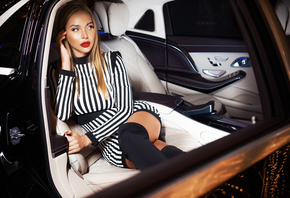 women, Ivan Gorokhov, red lipstick, women with cars, portrait, red nails, b ...