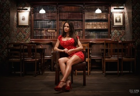 Polina Gofshtein, women, tanned, high heels, polka dots, red dress, sitting ...