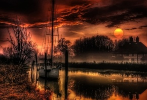 landscape, nature, house, river, the moon, the evening, yacht, hdr