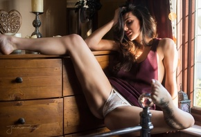 pose, room, model, panties, interior, makeup, mike, figure, hairstyle, brown hair, sitting, sexy, window, legs, Jack Russell