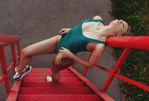 women, one-piece swimsuit, closed eyes, stairs, tattoo, Nike, sneakers, nip ...