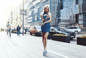 women, blonde, Alexander Belavin, blue dress, sneakers, women outdoors