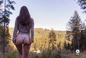 women, ass, brunette, back, trees, Calvin Klein, forest, hands on ass, the  ...