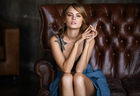women, Anastasia Scheglova, blonde, sitting, tattoo, hair band, pink lipsti ...