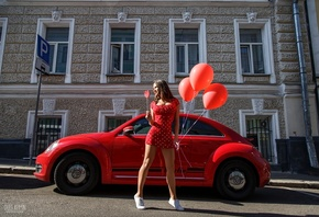 women, Oleg Klimin, balloon, polka dots, women with cars, red dress, sneakers, smiling