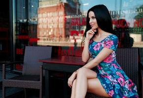women, sitting, dress, chair, table, looking away, black hair, portrait