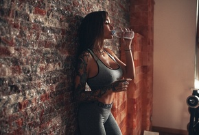 women, Angelica Anderson, sportswear, tanned, Anzhelika Anderson, tattoo, wall, bricks, bottles