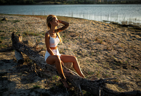 women, blonde, sandals, white clothing, sitting, closed eyes, tanned, jean shorts, women outdoors