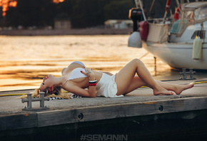 women, blonde, bikini top, big boobs, red lipstick, red nails, white skirt, pier, closed eyes, boat, lying on back