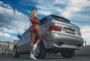 women, blonde, ass, tanned, one-piece swimsuit, BMW, shoes, rear view, women with cars