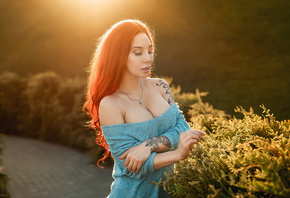 women, redhead, tattoo, boobs, women outdoors, necklace, bare shoulders, portrait