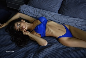 women, Evgeny Angelov, Ekaterina Zueva, ribs, in bed, lying on back, blue bikinis, pillow, belly