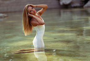women, blonde, kneeling, portrait, white dress, tight dress, Marco Squassin ...