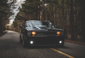 Dodge, Challenger, front view, black sports coupe