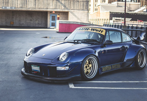 Porsche, 993, RWB, sports coupe, tuning, exterior, blue, sports car
