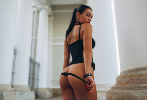 women, black dress, red lipstick, tight dress, tattoo, black panties, pantie drop, ass, red nails, Aleksandr Semanin