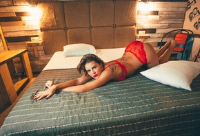 women, red lingerie, in bed, ass, bottom upred nails, tattoo, red lipstick, pillow