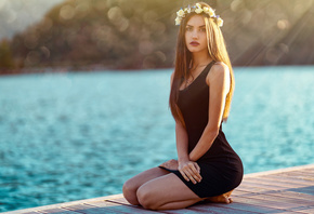 women, kneeling, Marco Squassina, bokeh, sea, black dress, long hair