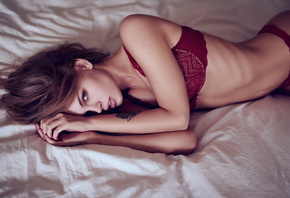 Anastasia Scheglova, women, red lingerie, ribs, tattoo, brunette, portrait